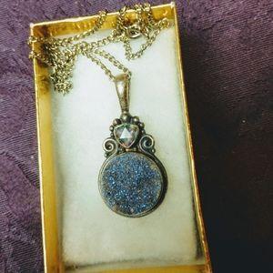 Retro Sajen druzy mystic topaz pendant silver 9.25